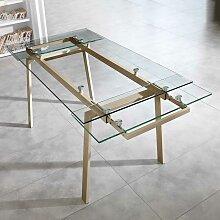 Esszimmertisch aus Glas Metall in Taupe