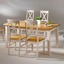 Esszimmertisch in Kieferfarben Weiß Landhausstil