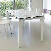 Esszimmertisch in Weiß Marmor Optik Glas Metall