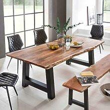Esszimmertisch mit Baumkante Akazie massiv Schwarz
