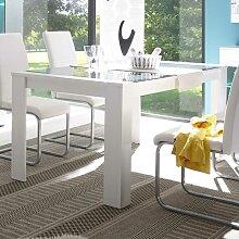 Esszimmertisch mit Grauglasplatte Weiß