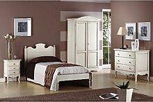 Estea Möbel–Einzelbett Holz Antik Country–Bett aus Holz–292