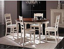 Estea Möbel–Tisch oval Allun. Holz massiv zweifarbig–verschiedene Farben–H584