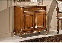 Estea Möbel Sideboard 2Türen 2Schubladen Holz massiv mit Inlay Farbe Walnuss–5144