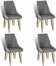 ESTEXO 4X Retro Esszimmerstühle Stoffbezug grau