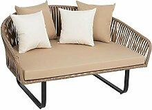 ESTEXO Polyrattan Sofa beige, halbrund, modernes