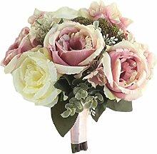 Estyle Fashion Künstliche Blumenstrauß Hochzeit Braut Brautjungfer Handgelenk Blumen Bankett Photographic Bouquet Zubehör Creme weiß