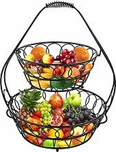 esylife Fertig montierter 2-stöckigerObstkorb, 2-Stöckig, großer Obst-/Brot-Korb, auch für Gemüse geeignet, schwarz