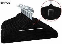 esylife Samt Kleiderbügel Kleiderbügel mit Cascading Haken Ultra Dünn rutschfeste Kleiderbügel, 50Stück schwarz