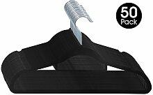 ESYLIFE Samt-Kleiderbügel mit Krawattenhalter, rutschfest, für Anzüge, Mäntel, 50 Stück Schwarz