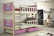 Etagenbett aus Kieferholz 200 x 88 x 160 cm Lackiert Babybett Kinderbett Bett Schlafzimmer Kindermöbel + Schubladen + Matratzen Lattenrost aus Flex-Leisten (3)