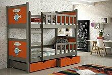 Etagenbett aus Kieferholz 200 x 88 x 160 cm Lackiert Babybett Kinderbett Bett Schlafzimmer Kindermöbel + Schubladen + Matratzen Lattenrost aus Flex-Leisten (7)