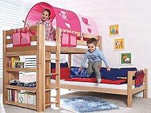Etagenbett BENI L Kinderbett Spielbett Hochbett Bett Natur Stoffset Pink/Herz