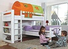Etagenbett BENI L Kinderbett Spielbett Hochbett Bett Weiß Stoffset Grün/Orange