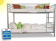 Etagenbett Hochbett 90x200 cm inkl. Sunrise Matratzen und Lattenrost. Kinderbett mit LGS Sicherheitsprüfung / TÜV Zertifikat / Metallbett Doppelbett. Liegefläche 2x 90 x 200 cm.