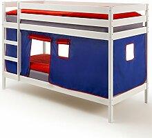 Etagenbett Hochbett Stockbett Doppelstockbett FELIX, Kiefer massiv weiß lackiert, inkl. Vorhang blau/ro