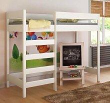 Etagenbett Hochbett verschiedene Holzfarben Variantenauswahl Jugendbett-HUGO Fronteingang (80 x 160 cm, Weiß)