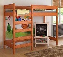 Etagenbett Hochbett verschiedene Holzfarben Variantenauswahl Jugendbett-HUGO Fronteingang (80 x 160 cm, Tik)