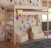 Etagenbett Hochbett verschiedene Holzfarben Variantenauswahl Jugendbett-HUGO Seiteneingang (80 x 160 cm, Eiche)