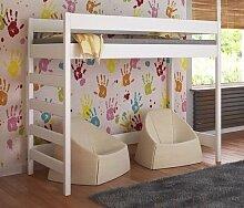 Etagenbett Hochbett verschiedene Holzfarben Variantenauswahl Jugendbett-HUGO Seiteneingang (80 x 160 cm, Weiß)