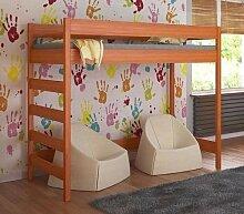 Etagenbett Hochbett verschiedene Holzfarben Variantenauswahl Jugendbett-HUGO Seiteneingang (70 x 140 cm, Tik)