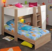 Etagenbett Jugendbett Magne 90x200 eiche weiß Kinderbett Hochbett Kleiderschrank Bett Kinderzimmer Jugendzimmer