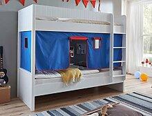 Etagenbett LUKA 1 Kinderbett Spielbett Hochbett Weiß Stoffset Blau/Ro