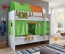 Etagenbett LUKA 2 Kinderbett Spielbett Hochbett Weiß Stoffset Grün/Orange