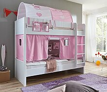 Etagenbett LUKA 2 Kinderbett Spielbett Hochbett Weiß Stoffset Rosa/Weiß