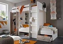 Etagenbett weiß / grau inkl Kleiderschrank +