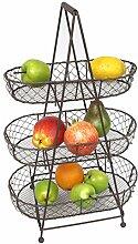 Etagere aus Metall mit 3 Körben für Obst &