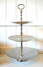 Etagere mit 3 Böden aus Aluminium Metall gehämmert silber vernickelt Höhe ca. 51cm Tischdeko Hochzeitsdeko Küchendeko Weihnachtsdeko Küche Tablett Kuchen-Teller Serviertable