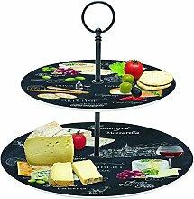 Etagere Porzellan Motiv Schiefer Käse