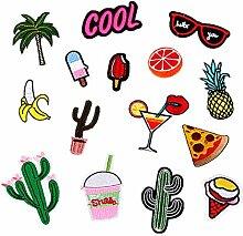 Etbotu DIY Bekleidung Zubehör für Kleidung Bügeleisen auf gestickten Applikationen Sommer Kleider Stoff Abzeichen 15pcs gemischte Patches Flicken