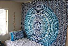 etbotu drucken Wandbehang Tagesdecke Sonnenschutz Schal, Home Raum Hintergrund Wanddekoration, Vintage Stil  210* 150cm blau