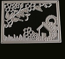 Etbotu Haus & Pflanzen Rahmen Kohlenstoffstahl Stanzformen Messer Form Schablonen DIY Scrapbooking Stanzungen Dekor Handwerk Präge Vorlagen Kunst Cutter