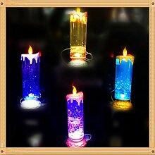 Etbotu USB wiederaufladbare Spinnkerze Nachtlampen 7 Farben ändernde flackernde LED Glitter Flammenlose Kerze Lichter für Party Dekoration LED Teelich
