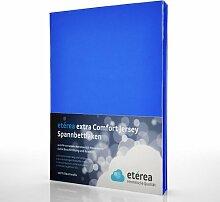 etérea Extra Comfort Jersey Baumwolle Spannbettlaken Spannbetttuch Farbe Blau, in der Größe 90x200 - 100x220 cm