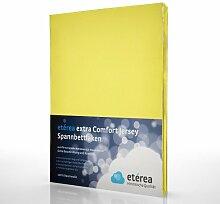 etérea Extra Comfort Jersey Baumwolle Spannbettlaken Spannbetttuch Farbe Gelb, in der Größe 90x200 - 100x220 cm