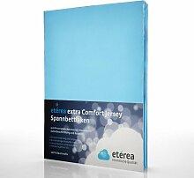 etérea Extra Comfort Jersey Baumwolle Spannbettlaken Spannbetttuch Farbe Hellblau, in der Größe 90x200 - 100x220 cm