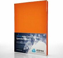 etérea Extra Comfort Jersey Baumwolle Spannbettlaken Spannbetttuch Farbe Orange, in der Größe 90x200 - 100x220 cm