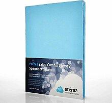 etérea Extra Jersey Topper Baumwolle Spannbettlaken Spannbetttuch Farbe Hellblau, in der Größe 90x200 - 100x220 cm