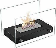Ethanolkamin Roma Mini Tischkamin & Standkamin mit sicherem Brennsystem, TÜV geprüft, Farbe: Schwarz