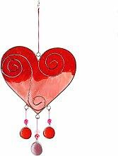 Ethisch gehandelt rot/pink love Herz Suncatcher, schönes Geschenk für jeden Person oder Anlass