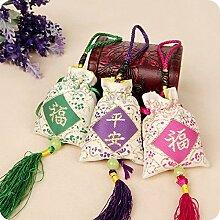 Ethnische Stickerei UWSZZ Dragon Beutel Beutel Mehltau Insektenschutz Weihrauch Tasche - Taschen aufhängen Auto Beutel neue gelbe