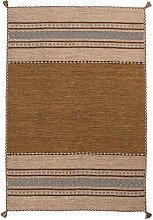 Ethno Muster Teppich in Beige und Braun gewebt