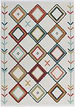 Ethno Muster Teppich in Bunt 2 cm hoch