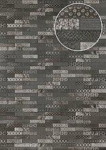 Ethno Tapete Atlas ICO-5705-3 Vliestapete glatt mit Kachelmuster schimmernd anthrazit basalt-grau silber 7,035 m2