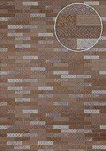 Ethno Tapete Atlas ICO-5705-4 Vliestapete glatt mit Kachelmuster schimmernd braun sepia-braun grau silber 7,035 m2