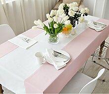 Ethomes Amerikanisches Einfach Mode Pink und Weiß Farbe Tischdecke Rechteckig für Ess- / Teetischtisch Haushaltsgeräte Handtuch ca. 100x160 cm